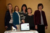Committee members Dympna, Christine, Trudy, Eithne and Deirdre with Award at agm.